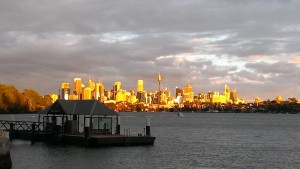 Sydney on sunset looking over Woolwich ferry wharf