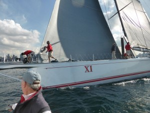 Geoff as Wild Oats XI ducks our stern
