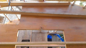 A third brace was needed near the keel of frame M to hold the frame for the reconnection to the keel and stringers