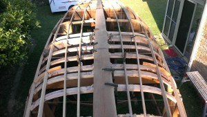 Seven Keel frames fitted to the hull.