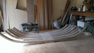 Keel frames with the top web half glassed