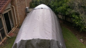 Another tarpaulin to keep the hull dry