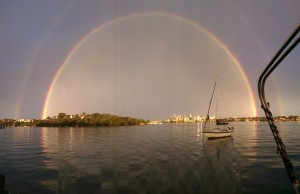 Panorama photo of the spectacular double rainbow over Sydeny taken on my HTC M8 from the mooring in Woolwich