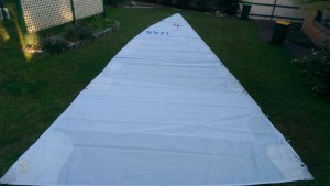 The old North mainsail off passion has been extended again. it now has 2.6 metres longer luff than the original.