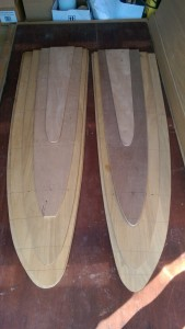 The two halves of the plywood rudder ready for fitting to the rudder stock.