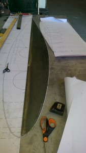 1 mm steel template for marking out the bulb bottom plate.