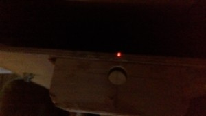 The laser beam shone through the shaft log onto the centre line of the engine bed.