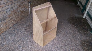 A plywood mock up of the stainless steel fuel tank