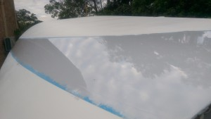 A view of the wide boot top stripe on the stern of our Didi 40 Cr
