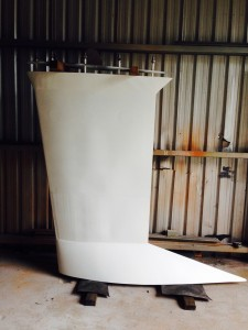 The primed keel for our Didi 40 Cr ready for epoxy filling and fairing