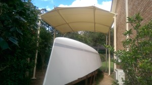 Front view of the awning over our Didi 40 Cr