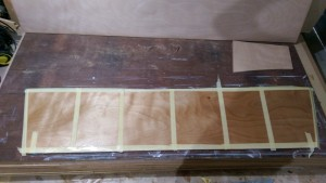 The underside of the 12 mm plywood boarding platform is saturated with three coats of West System epoxy