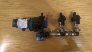 The tank selection valves to switch between the two 300 liter water tanks.