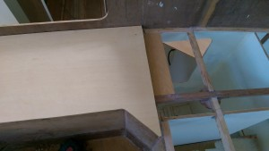 A plywood backing piece ready for a butt join across the bridge deck