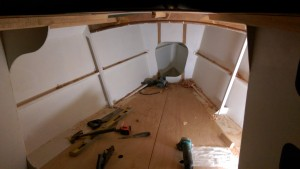 The bunk tops in our Didi 40 Cr provide a very comfortable work platform for fitting the foredeck plywood