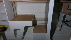 Chart table with lid in place ready to fit hinges