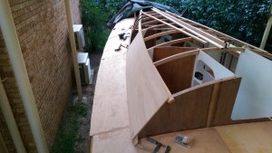 Trial fit of the first of six panels that make the cabin sides