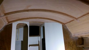 Cabin roof above the galley in our Didi 40 Cr. I have started sanding the join in the frame in the head and you can see the start of the faring process through the door