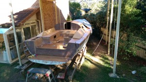 Progress on the coamings on our Didi 40 Cr Wide Stern version