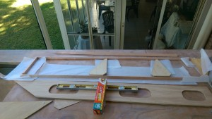 Port side prepped with kitchen paper and ready to apply the glue to the cleats and plywood.