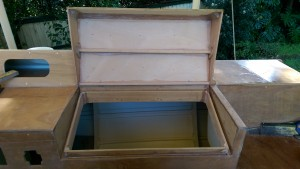 About 30 pieces of timber were used to make the water trap and locker lid.