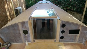 External view of the companionway hatch before making the hatch garage.