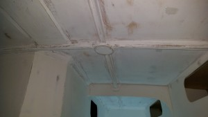 Aggressively sanded first coat of primer in the quarter berth ceiling