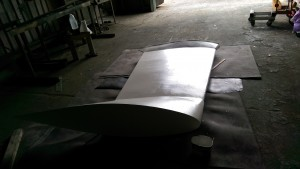 The first of two coats of Interprotect over the epoxy bog on the keel of our Didi 40 Cr