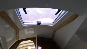 The ceiling and hatch in the V berth ante room.