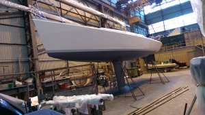 First look at the colour of the antifouling on our Didi 40 Cr