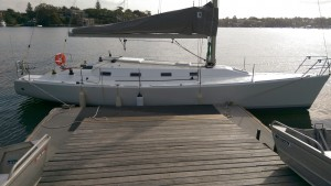A new boat on the pontoon at Greenwich Flying Squadron