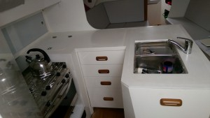 The semi completed galley with drawers fitted