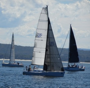 Pre race sail setting at Port Stephens
