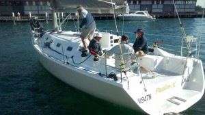 Passion X reversing in to pick up crew in Walsh Bay