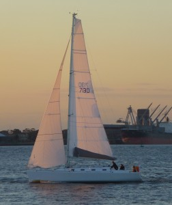 These are the sails we carried today in the first of the RANSA Winter Wednesday races. Photo from the sail to Newcastle