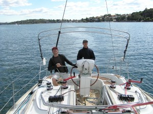 Two of the sons taking Dad for a sail on Passion