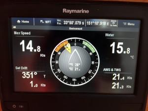 Maximum boat speed 14.8 knots