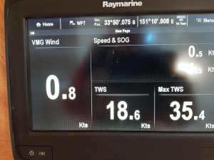 Maximum true wind speed 35.4 knots