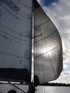 Running the code zero out to windward. We can do this because it rates as a headsail with a massive penalty rating.