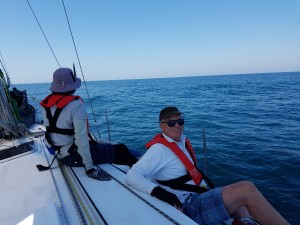 Happy crew on the race to Port Stephens while the Code Zero was flying