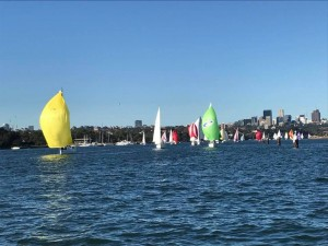 Passion X big yellow spinnaker in the first of the West Harbour Winter Series for 2018