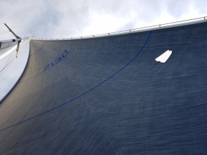 Our new No 1 heavy genoa our for a test sail where we hit our speed targets several times.