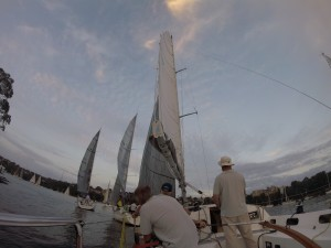 Breeze has died. Need more twist. Vang should be off and halyard eased more