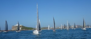 Leading the Newcastle to Port Stephens fleet out of the harbour. (Under motor)