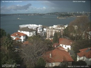 Sydney Harbour webcam just before scheduled start time for the abandoned race