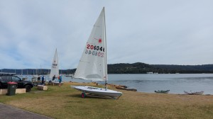 Thursday exercising on the Laser at Gosford