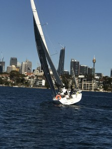 Trying to get some twist in the sails for the light shifty conditions. Photo courtesy Geoff Lucas